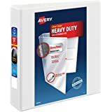 """Avery 2"""" Heavy Duty View 3 Ring Binder, One Touch EZD Ring, Holds 8.5"""" x 11"""" Paper, 1 White Binder (79192)"""