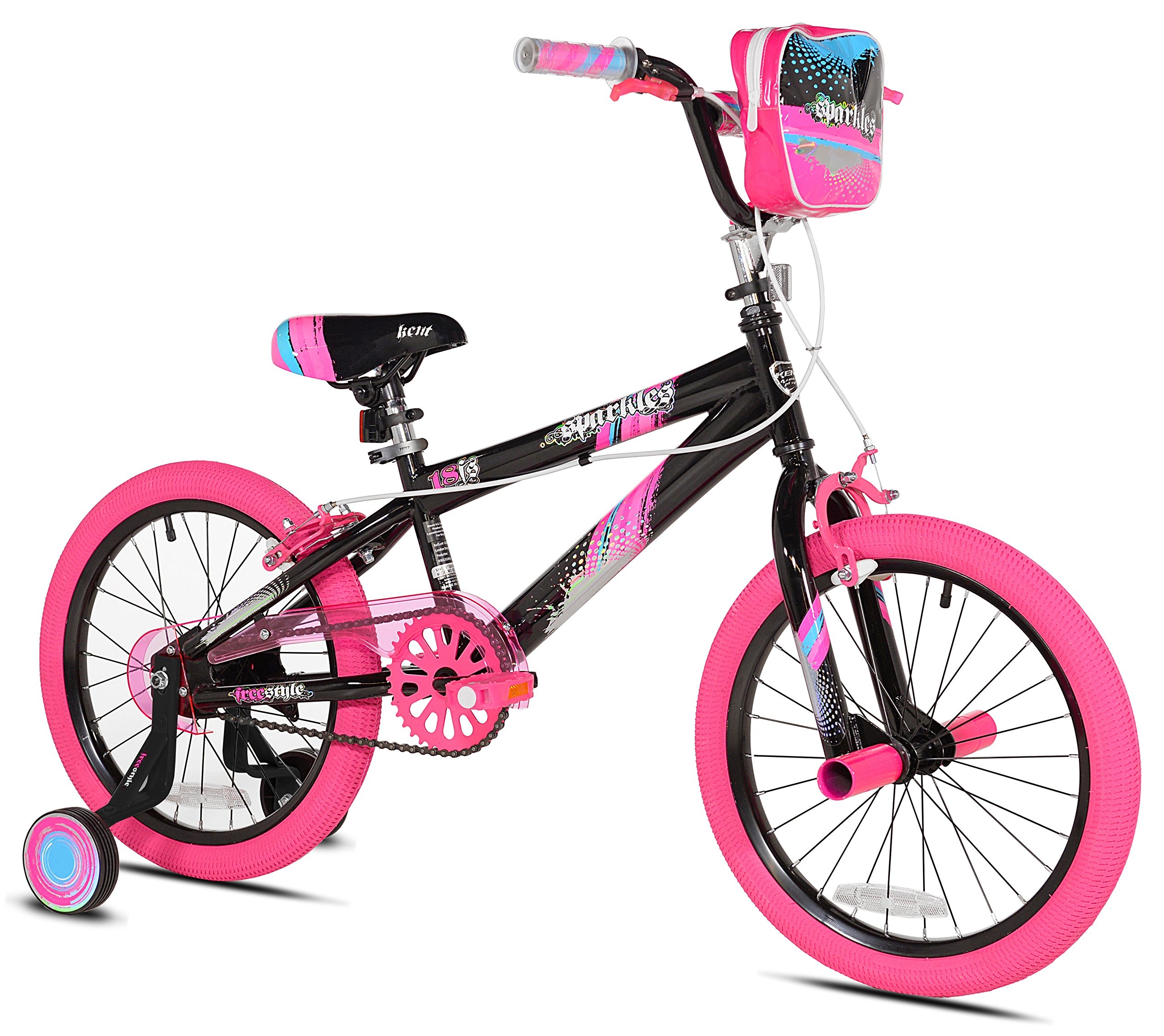 Kent 18'' Sparkles Girls Bike, Black/Pink Summer Toy Kids Outdoor Play by Kent 18'' Sparkles (Image #1)