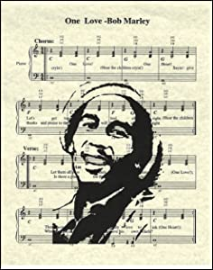 One Love Music Sheet Artwork Print Picture Poster Home Office Bedroom Nursery Kitchen Wall Decor - unframed