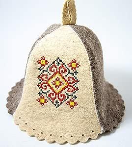 Queen TSARITSA Embroidered Russian Ukrainian Sauna Banya Hat Protection Wool