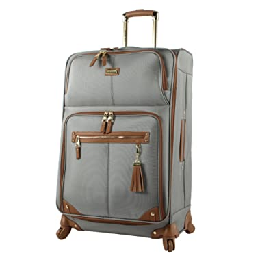 Steve Madden Luggage Large 28  Expandable Softside Suitcase With Spinner Wheels (28in, Harlo Gray)