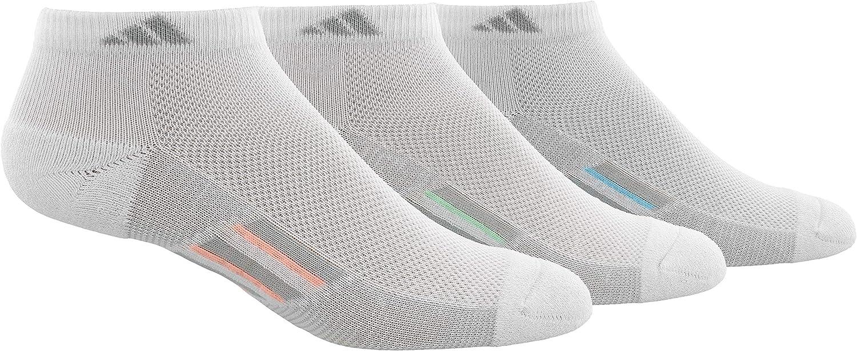 adidas Women's Superlite Stripe Low Cut Socks (3-Pair), White/Clear Grey/Light Flash Orange Frozen Green I, Medium, (Shoe Size 5-10)
