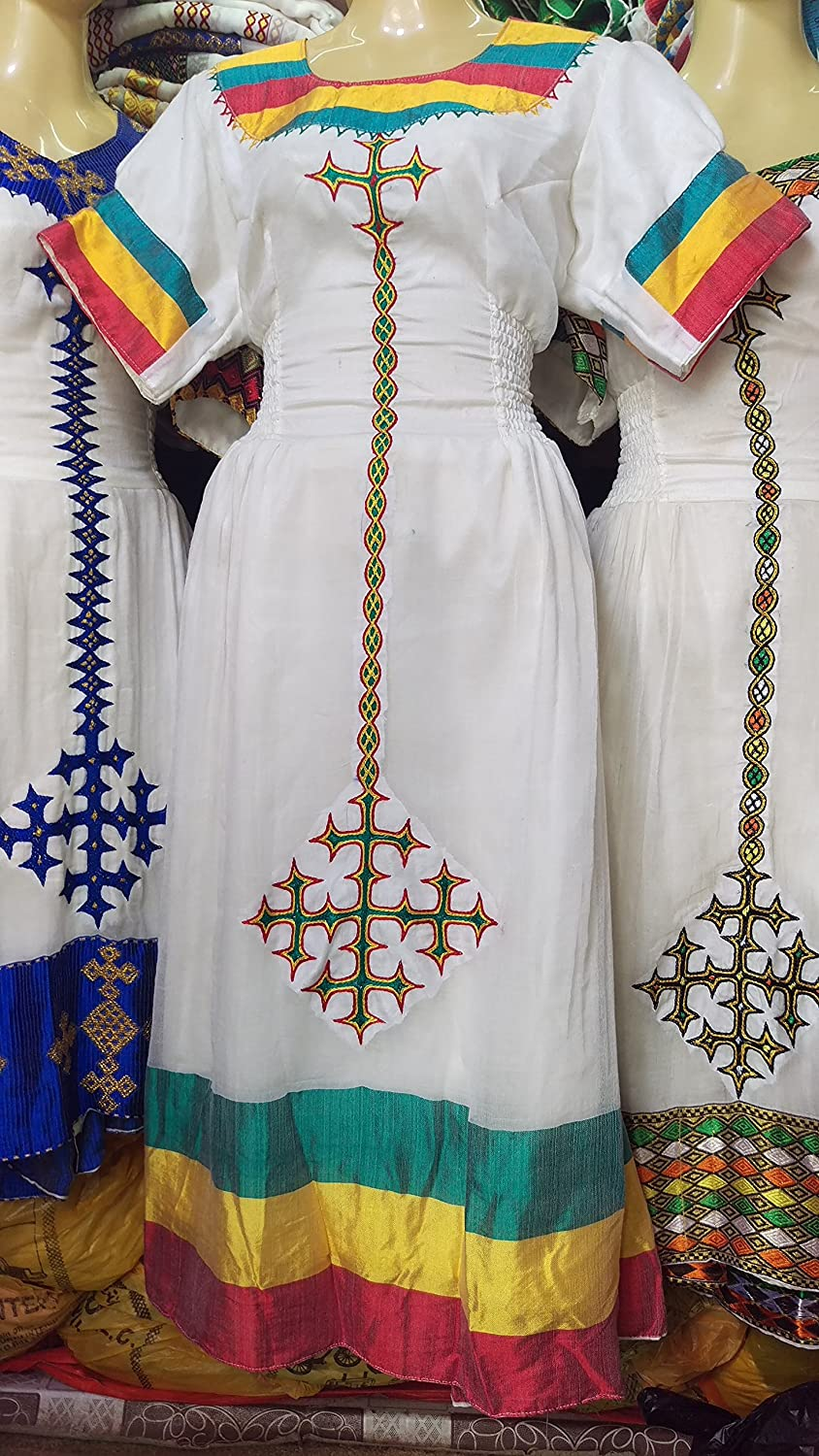 Ethiopian Habeshan,African Hand Made Traditional Unique Women's Clothing   Genuine Cotton Dress