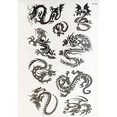 Dragón Tattoo Negro temporär brazo Brazo tatuaje pegatinas Wx010