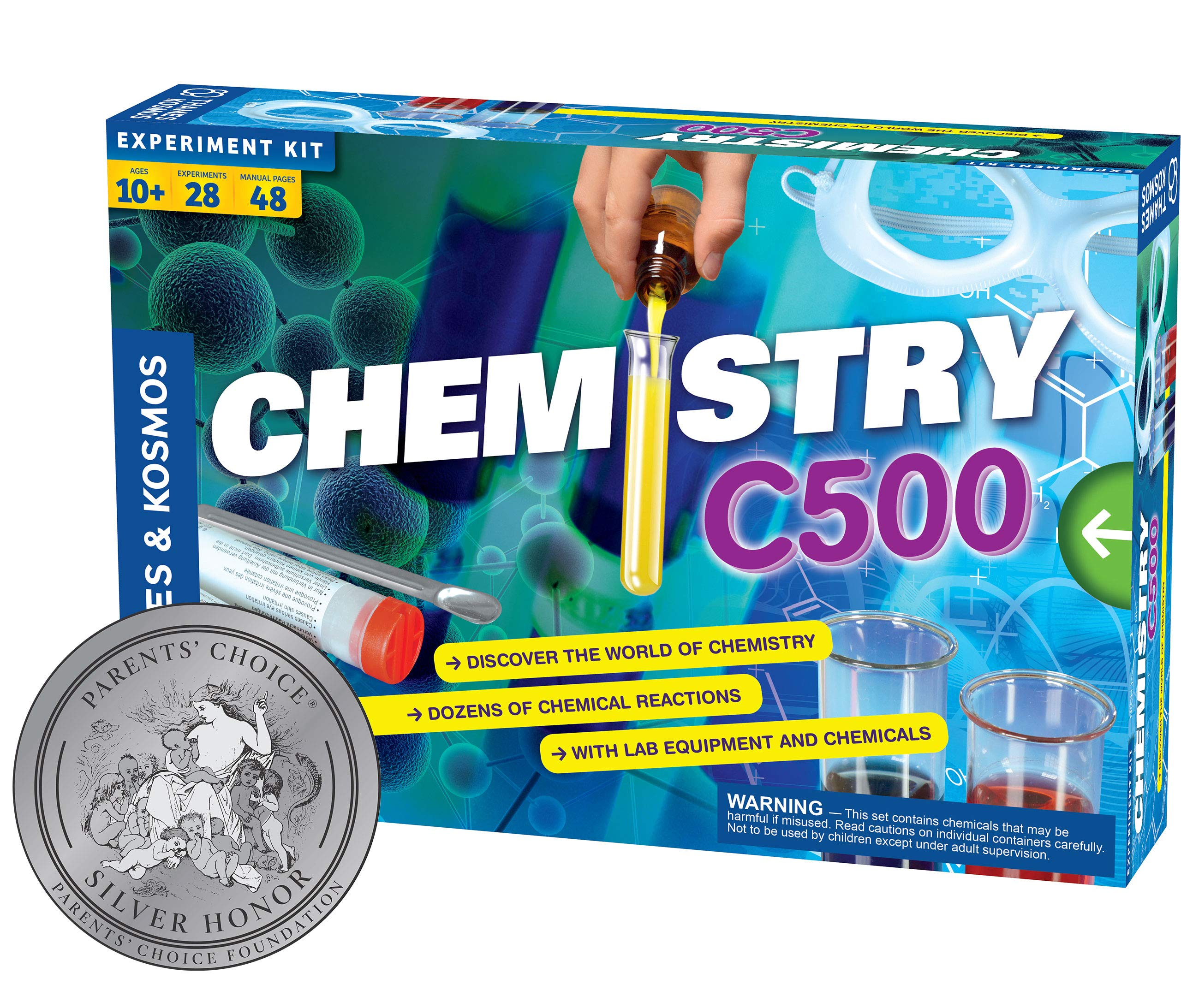 """Thames & Kosmos Chemistry Chem C500 Science Kit with 28 Guided Experiments 48 Page Science Guide Parents' Choice Silver Award Winner, 13.1"""" L x 2.6"""" W x 8.9"""" H"""