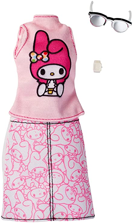 Amazon.com  Barbie Fashions Hello Kitty Pink Top   Patterned Skirt ... c8cd35300