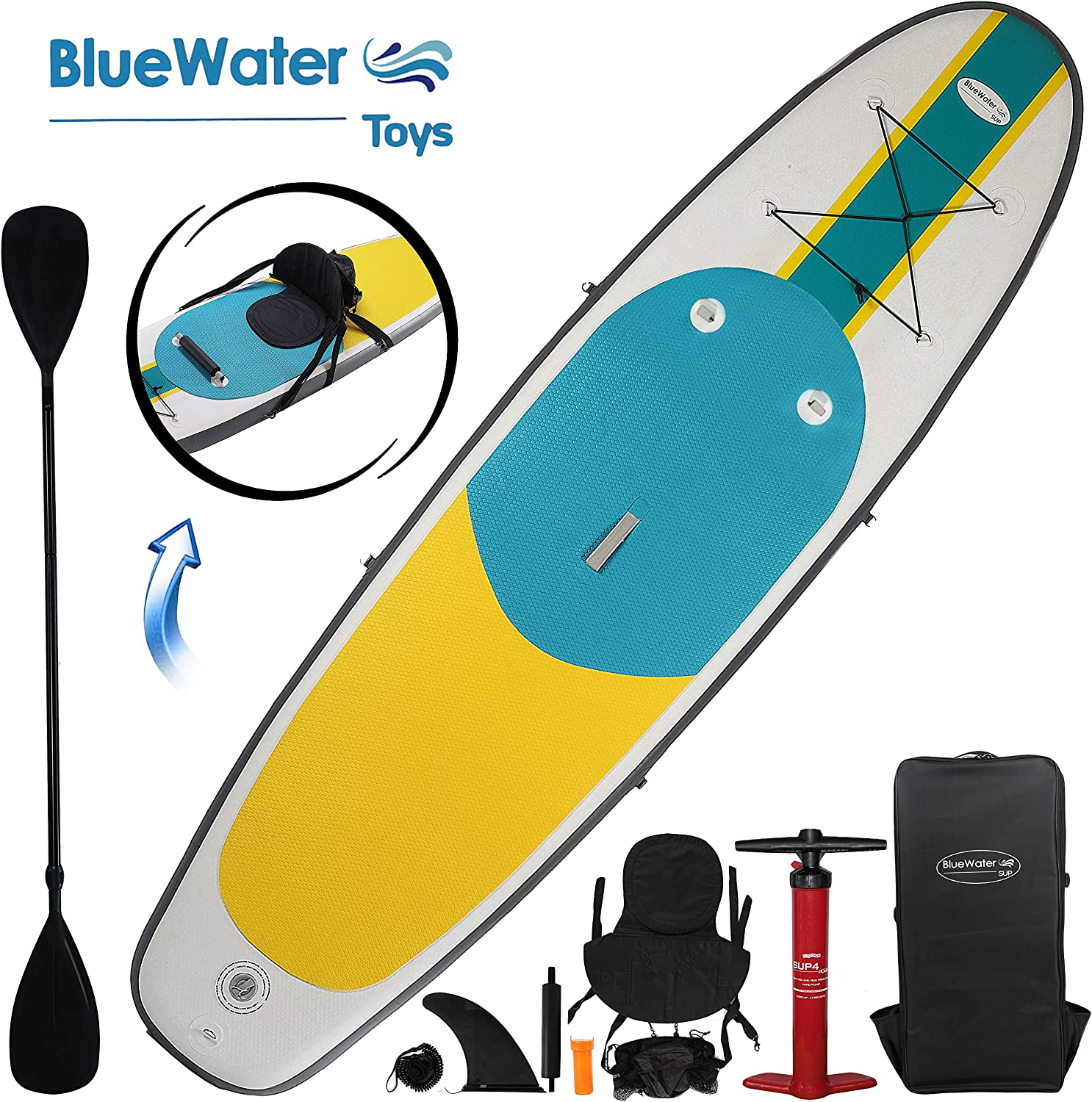 10 Inflatable Stand Up Paddle Board Kayak And SUP 6 Inches Thick, 32 Inch Wide Stance Width 11-Piece Accessory Set That Includes Convertible Paddle, Kayak Seat, Travel Backpack, And More