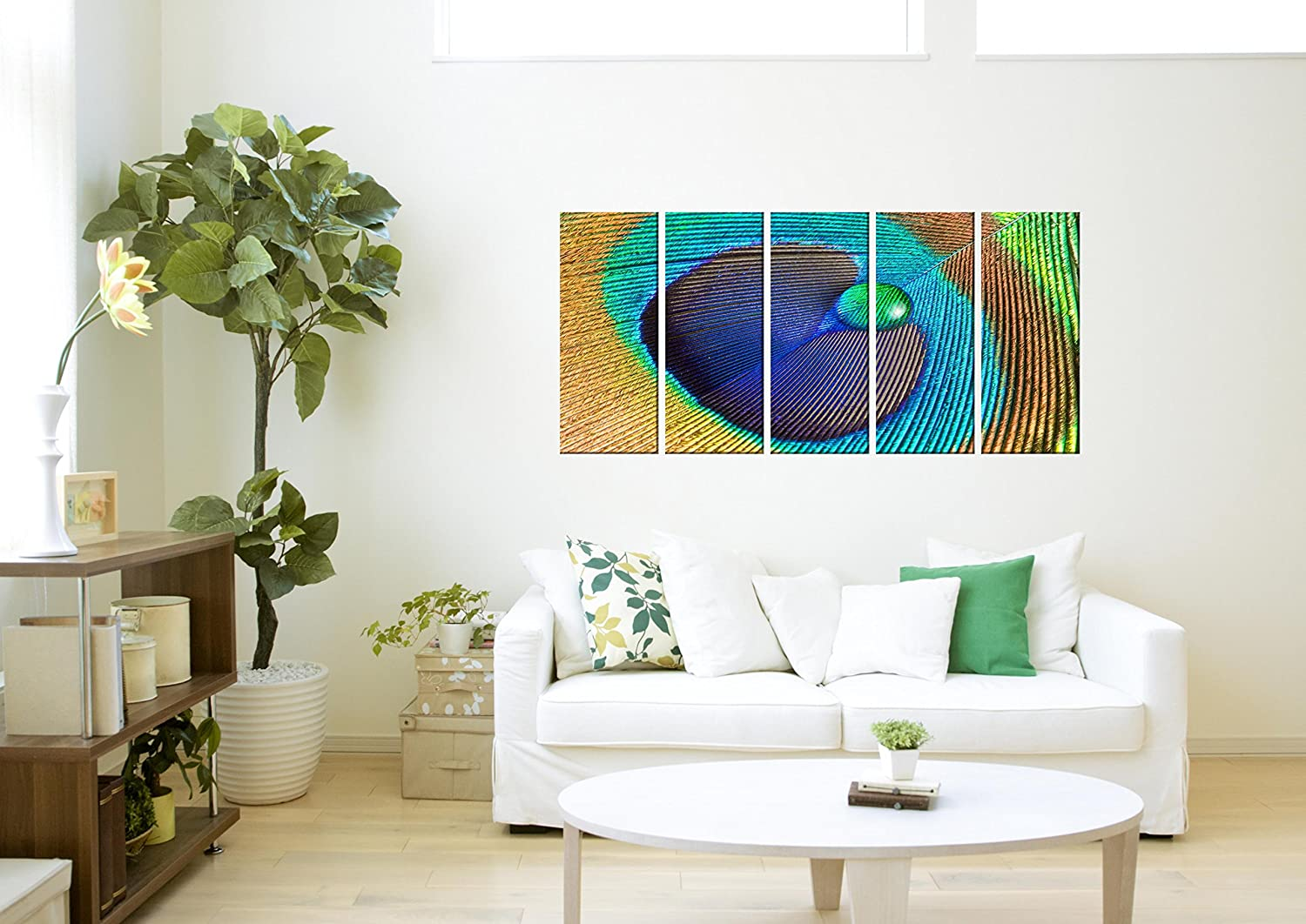 Amazon com peacock feather print on canvas framed and ready to hang modern home and office interior decor feather canvas designs 5 panel print wall