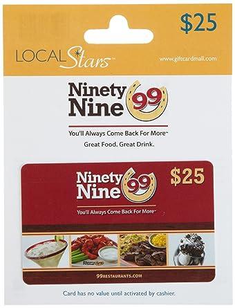 Amazoncom Ninety Nine Restaurants Gift Card 25 Gift Cards