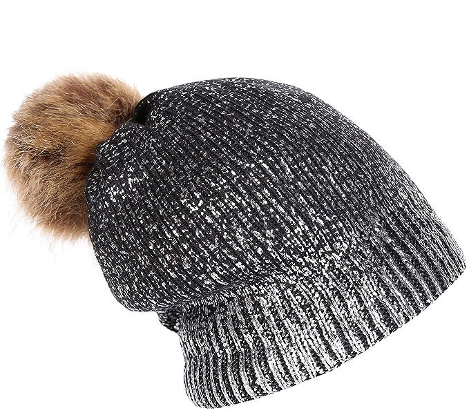 2a62f9835 Amazon – Women Winter Pom Pom Knit Hats Metallic Shiny Party Thick ...