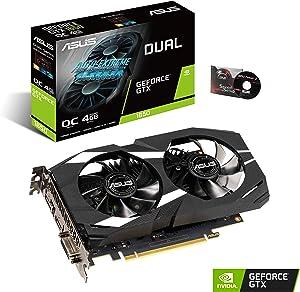 Asus GeForce GTX 1650 Overclocked 4GB Dual-Fan Edition VR Ready HDMI DP 1.4 DVI Graphics Card (Dual-GTX1650-O4G)
