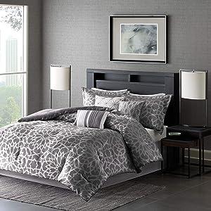 """Madison Park Carlow 7 Piece Comforter Set, Queen, (90""""x90""""), Metallic Geo Grey"""
