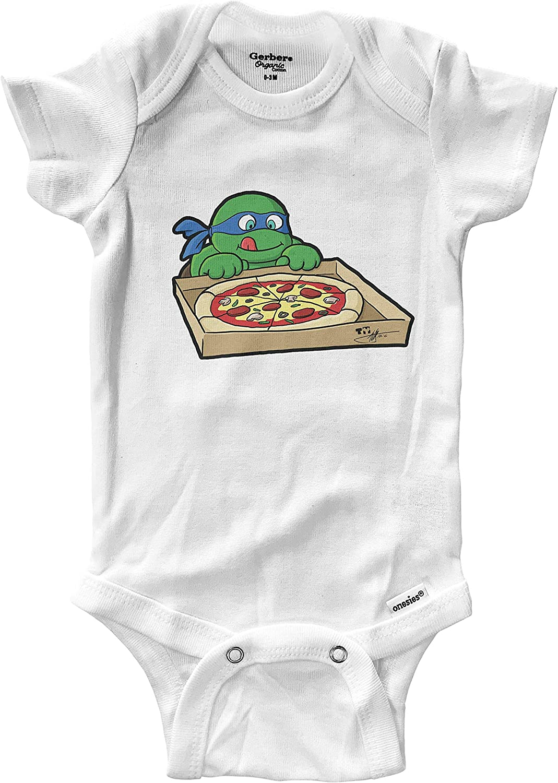 Hungry Turtles Leonardo Pizza Infant Baby Boy Girl Clothes Onesies Bodysuits Great Gift Cute Ninja