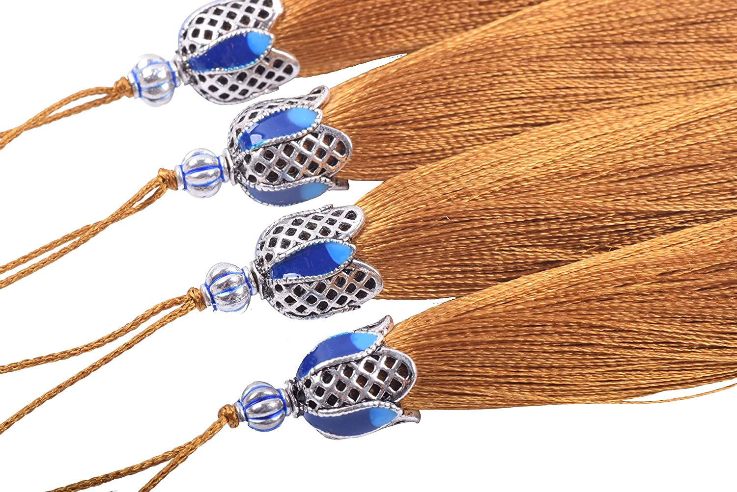 Craft Tassels with Hollowed Antique Silver Caps and Hanging Loops for Jewelry Making Crafts Designs KONMAY 10PCS 8.5cm 3.4 Mixed Randomly Decorations