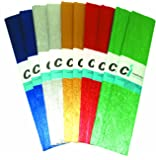 Ci Tissue 10-Piece 50 cm x 2.5 m Paper Metallic Crepe Assorted Pack Gold Silver, Red/ Blue/ Green