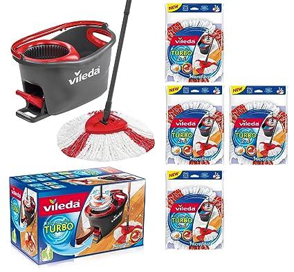 Vileda Turbo EASYWORLD Anillo & Clean Juego completo, cubo con Fregona y Power Plus centrifugado