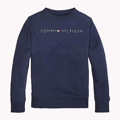 Tommy Hilfiger Essential Tommy Logo Sweatshirt, Sudadera para Niños, Azul (Black Iris 002