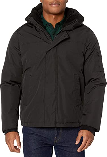IZOD Mens Quilted Microfiber Hipster Jacket W//Sherpa Trim