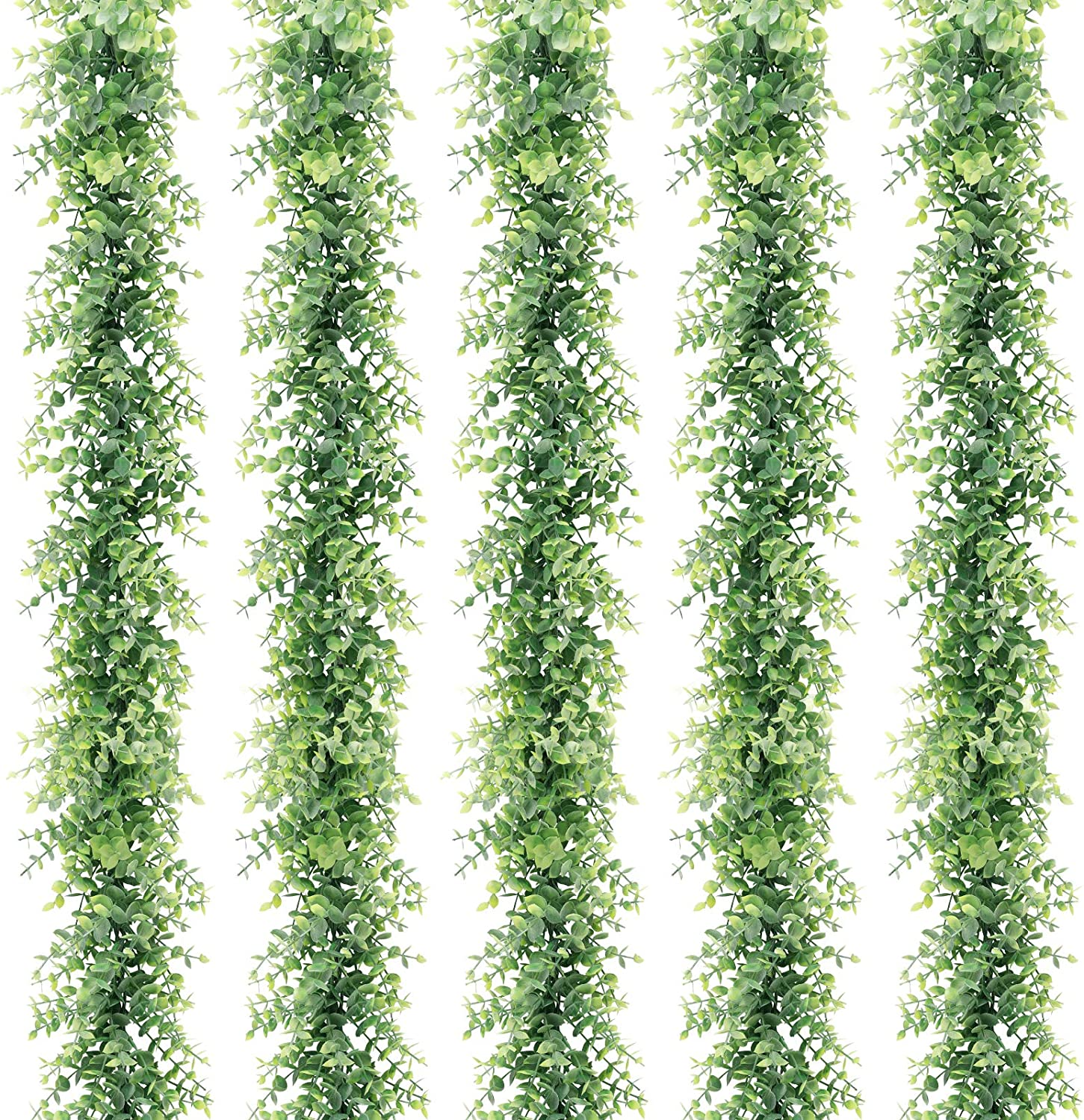 COCOBOO 5 Packs 6 Feet Artificial Eucalyptus Garland, Artificial Vines Faux Eucalyptus Greenery Garland, Fake Hanging Plant for Wedding Wall Decor Arch Backdrop, Party Festival Table(Light Green)
