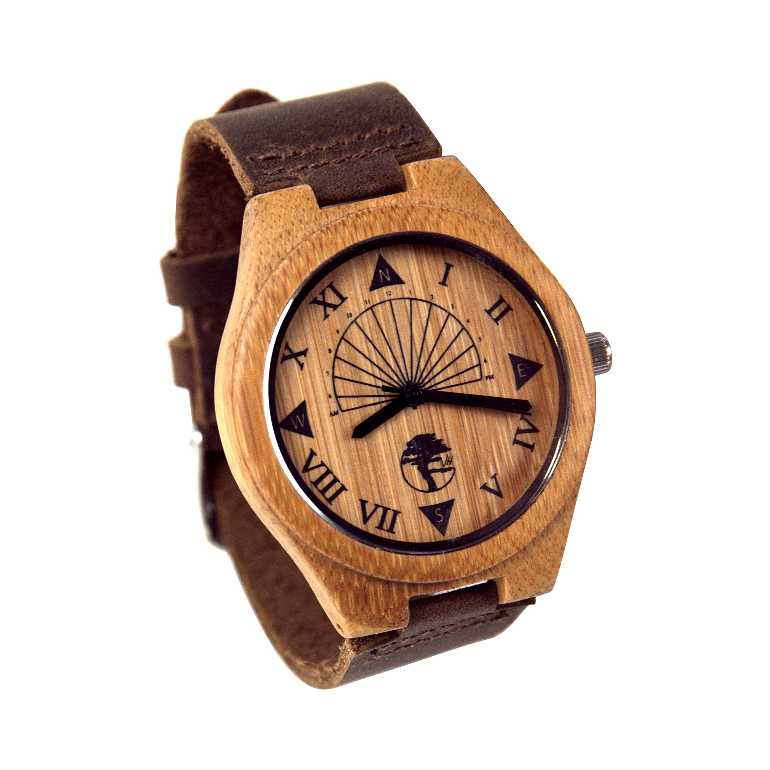 Viable Harvest Men's Wood Watch, Unique Sundial Design, Natural Bamboo, Genuine Leather and Gift Box (Brown)