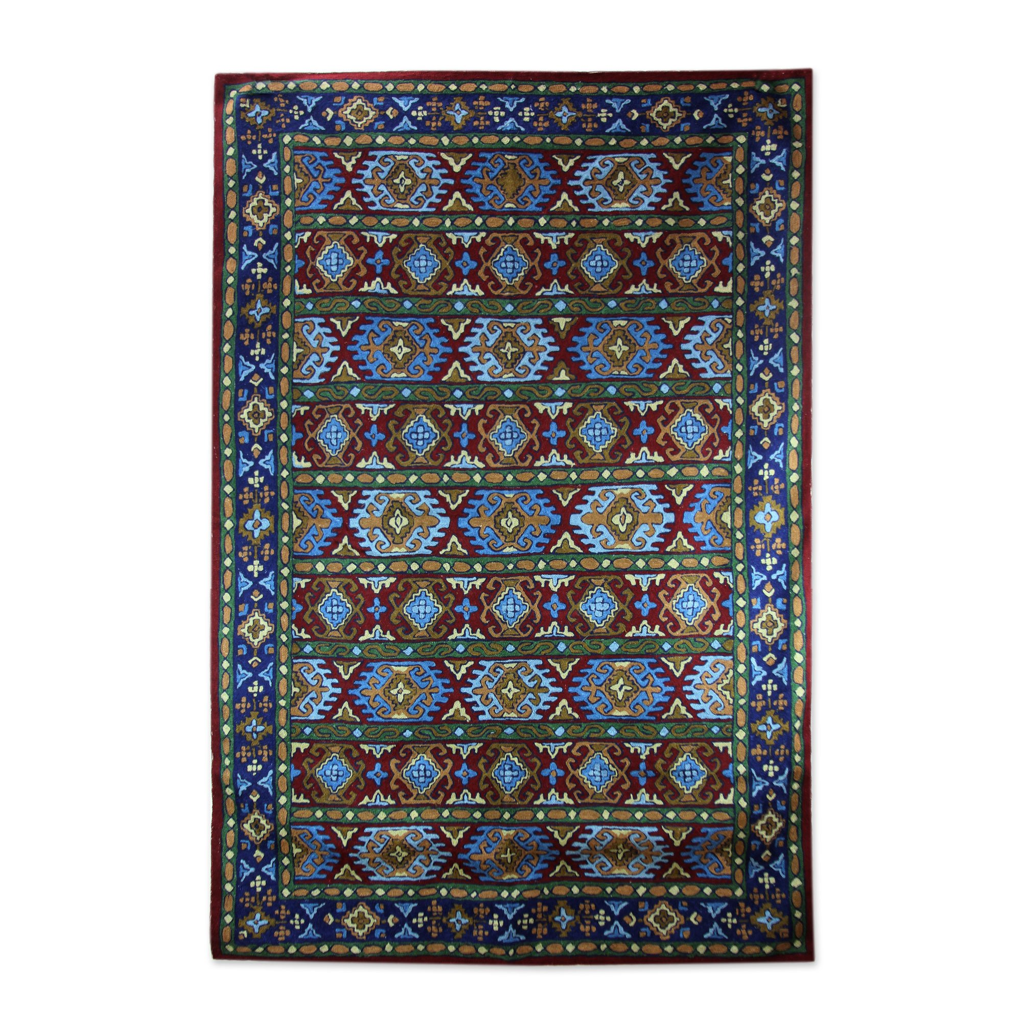 NOVICA 'Blue Tile Palace' India Aari Rug Chain Stitched Wool on Cotton (4 x 6)