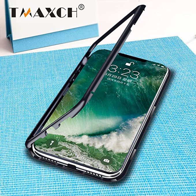 18091d2939b Luxury Magnetic Adsorption Case for IPhone X 8 7 Plus Clear Tempered Glass  Case 360 Full