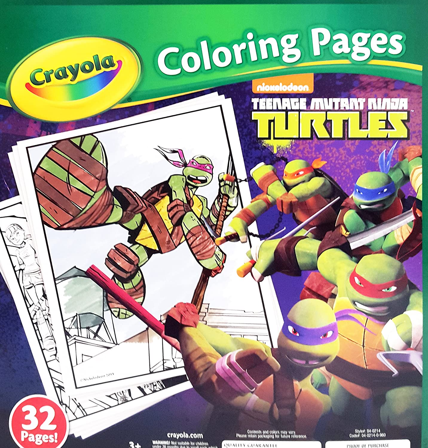 Crayola Teenage Mutant Ninja Turtles 32 Coloring Pages ...