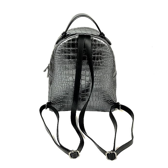 51758ebc1 Lena Geiger - Bolso mochila de Piel Lisa para mujer Plateado plata  H28,5xB24,5xT12,5: Amazon.es: Zapatos y complementos
