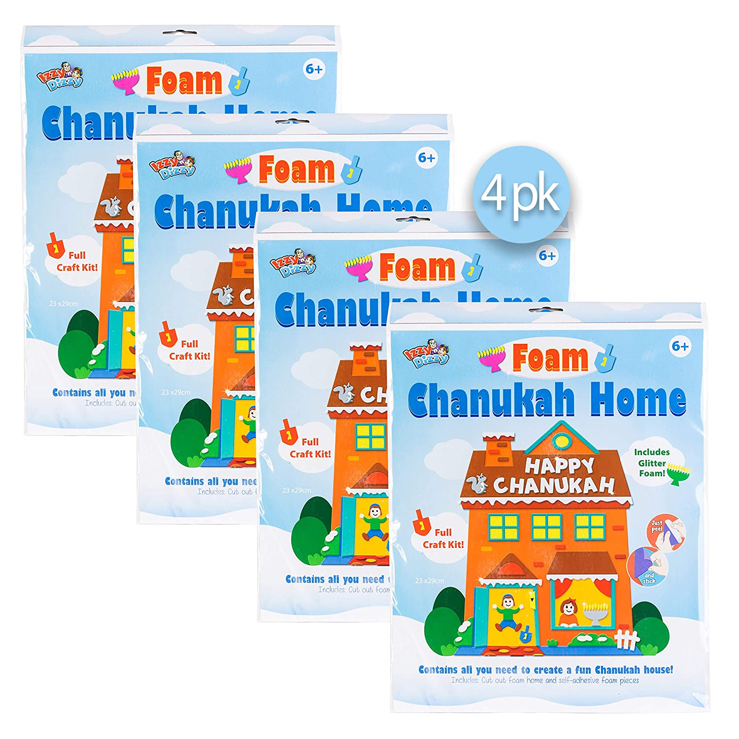 Self Adhesive Peel and Stick Foam 4 Pack Izzy /'n/' Dizzy Foam Chanukah House Kit Hanukkah Arts and Crafts and Games Izzy /'n/' Dizzy