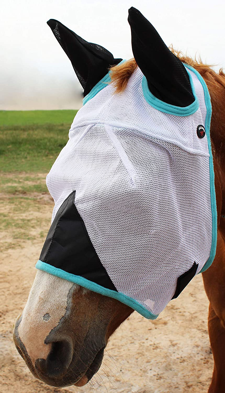 CHALLENGER Equine Horse Fly Mask Summer Spring Airflow Mesh UV Mosquitoes 73206V