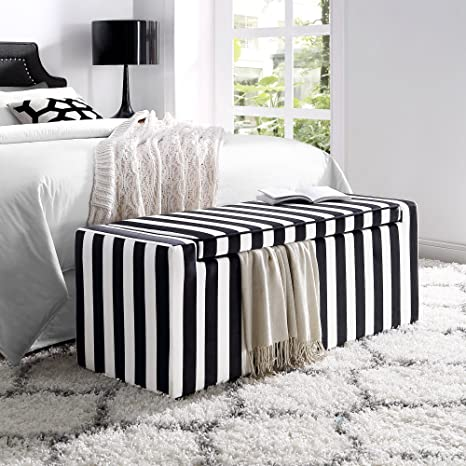 Super Fabroni Velvet Storage Bench Shoe Case Upholstered Black And White Stripes Livingroom Bedroom Inspired Home Gmtry Best Dining Table And Chair Ideas Images Gmtryco