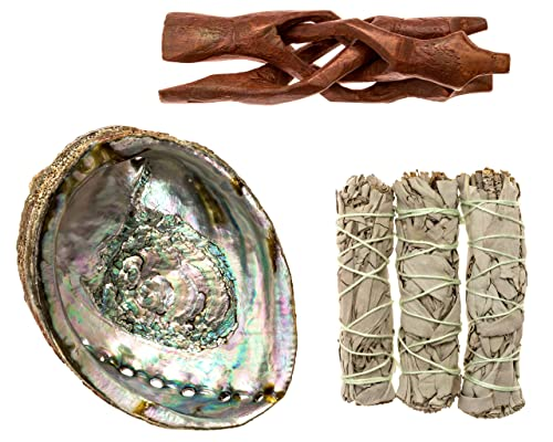 5 Inches (or more) Premium Abalone Shell with Wooden Tripod Stand and 3 California White Sage Smudge Sticks for Incense Burning, Home Fragrance, Energy