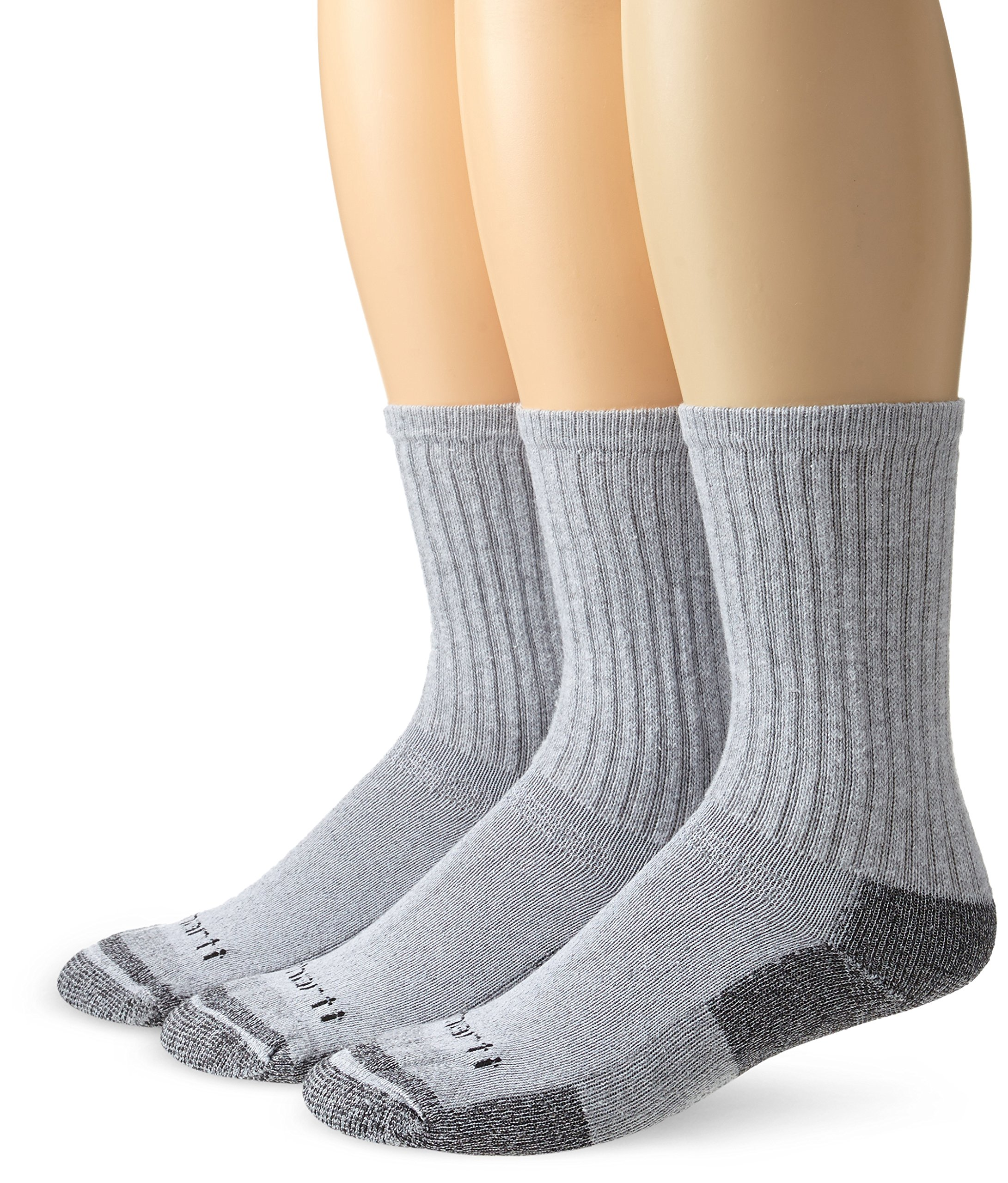 Carhartt Men's Breathable & Odor Resistant Cotton Crew Work Socks 3 Pair gray Large(Shoe Size:6-12/Sock Size: 10-13)