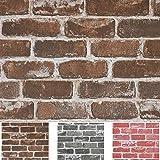 "Timeet 17.7""×197"" 3D Vintage Brown Brick Wallpaper Brick Self Adhesive Film Brick Peel and Stick Wallpaper Brick…"