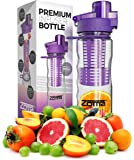 25oz Fruit Infuser Water Bottle - Leak Free Locking Cap - BPA Free Tritan Plastic - Sport Spout for Easy Drinking - Carrying Loop and Finger Grips for Easy Transport - Instructions and Recipes Included in Box
