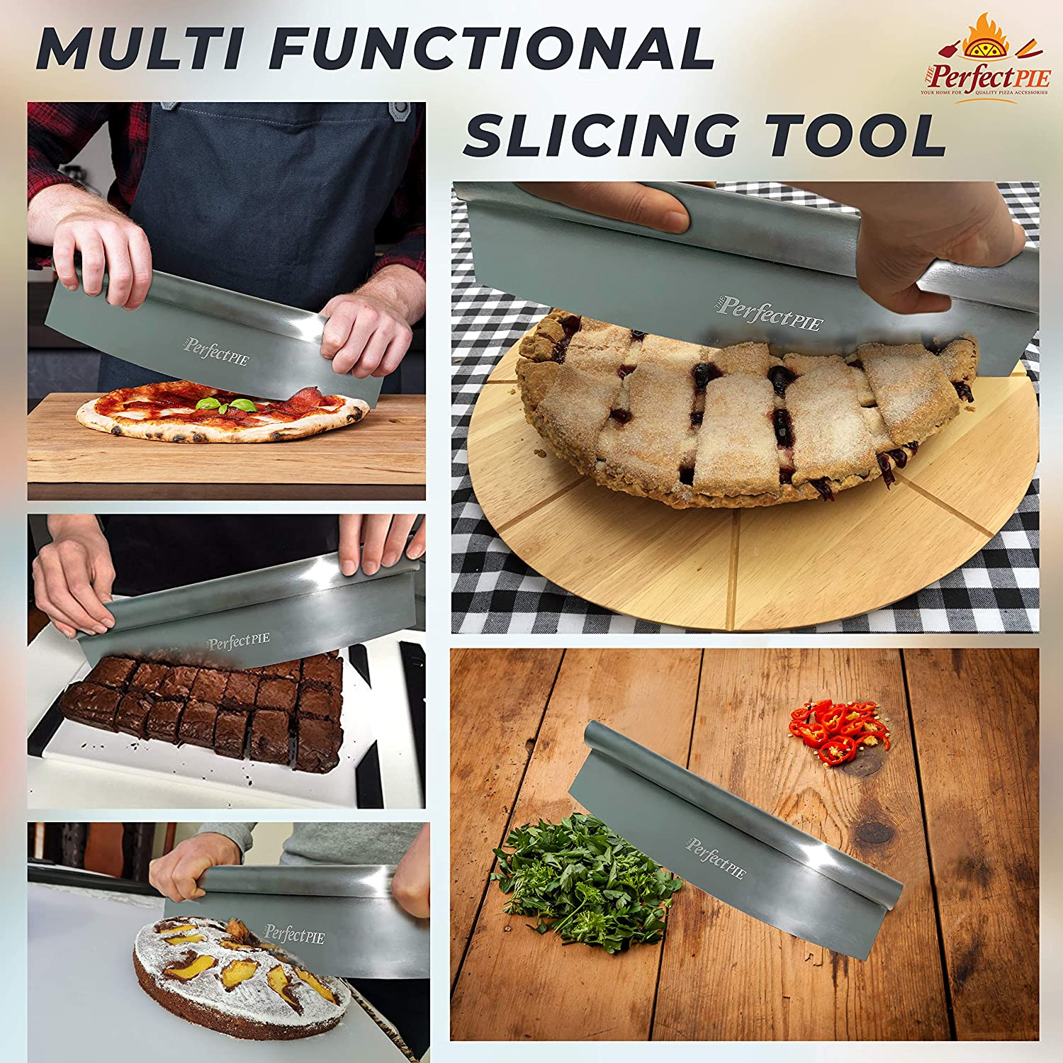 """The Perfect Pie 14"""" Pizza Cutter Rocker Heavy Duty Stainless Steel Pizza Slicer With Protective Cover, Pizza Chopper Accessories Premium Knife Tools For Pizzas Breads Cheeses Cakes Vegetables: Kitchen & Dining"""