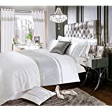 Luxury Premium White with Silver Floral Damask Pattern Bedding Set Double King