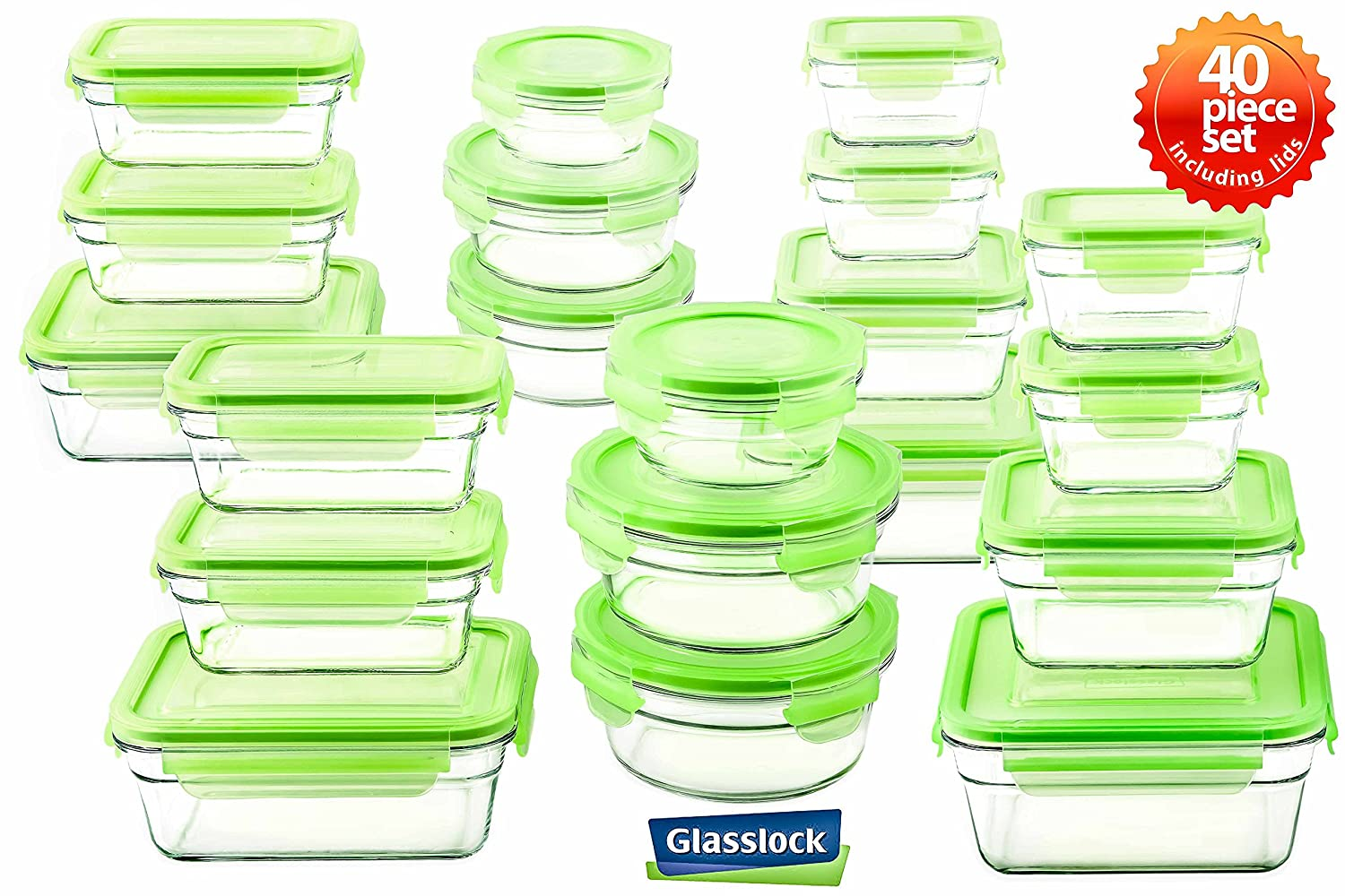 Tempered Glasslock Storage Containers 40pc set Green Lids Microwave & Oven Safe Airtight Anti Spill Proof