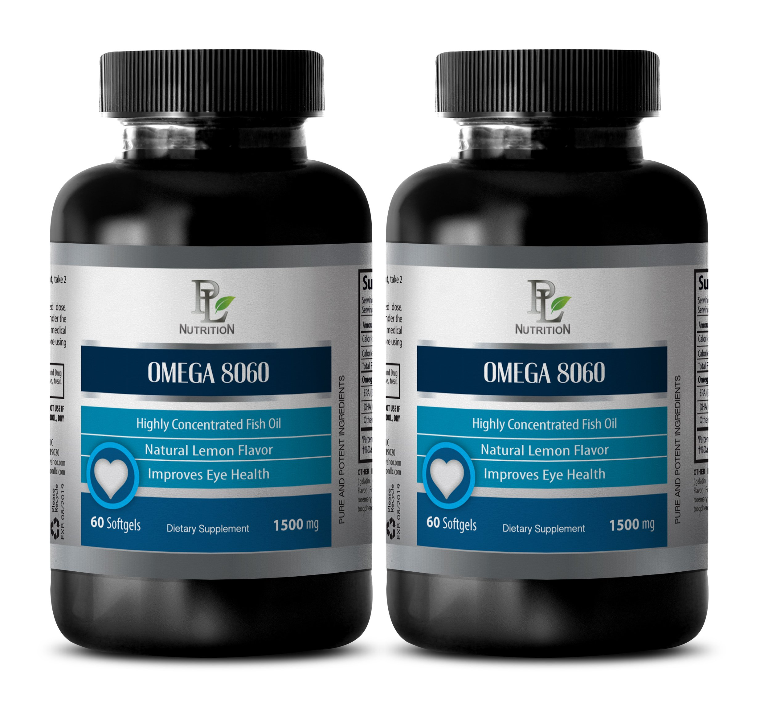 Eye supplement - OMEGA 8060 HIGHLY CONCENTRATED FISH OIL - Omega 3 with dha - 2 Bottle 120 Softgels by PL NUTRITION