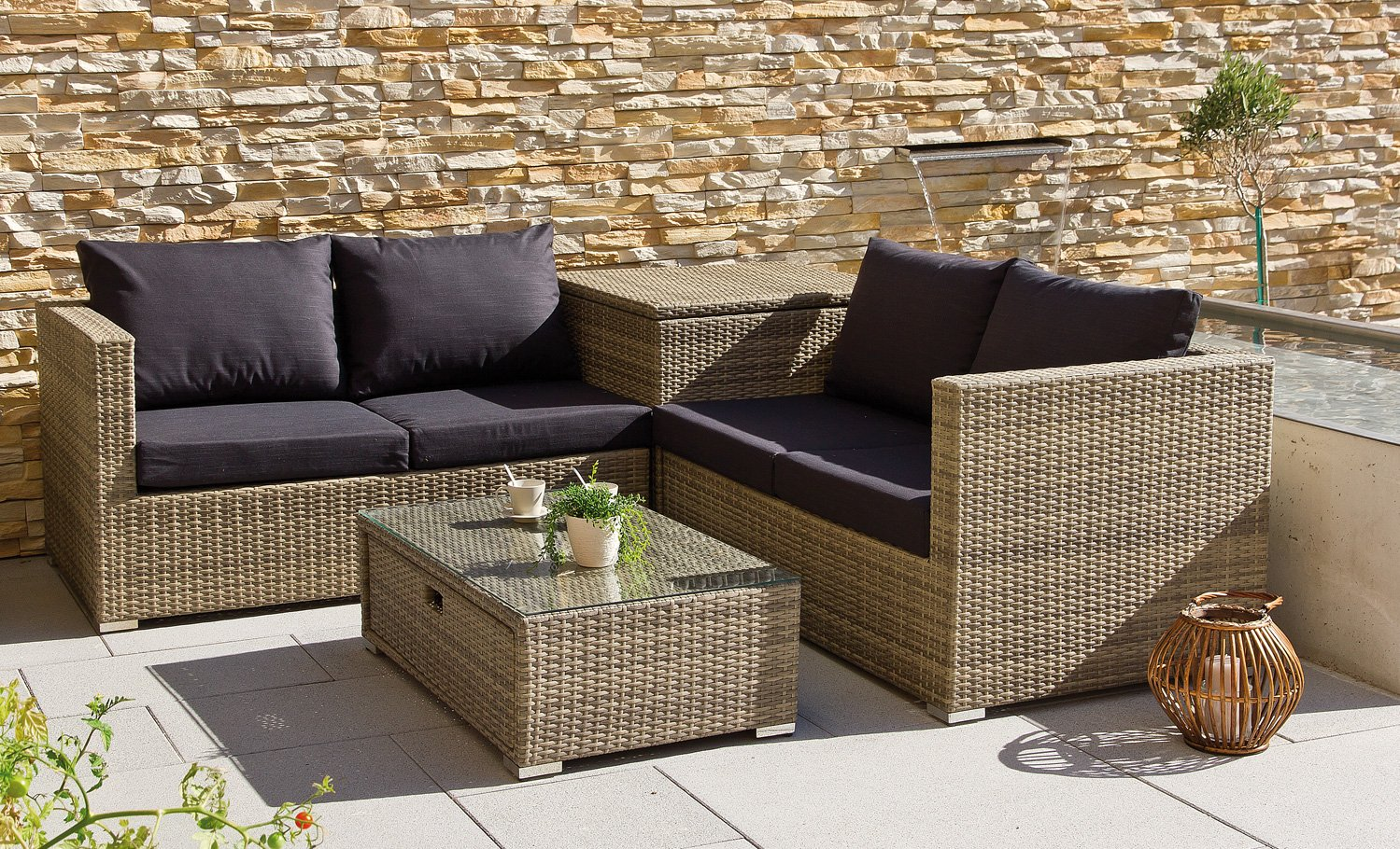 Rattan lounge set kos garten sitzgarnitur mit polsterbox for Lounge set rattan gunstig
