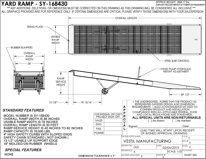 Vestil SY-168430 Aluminum Yard Ramp with Steel Grating, 360