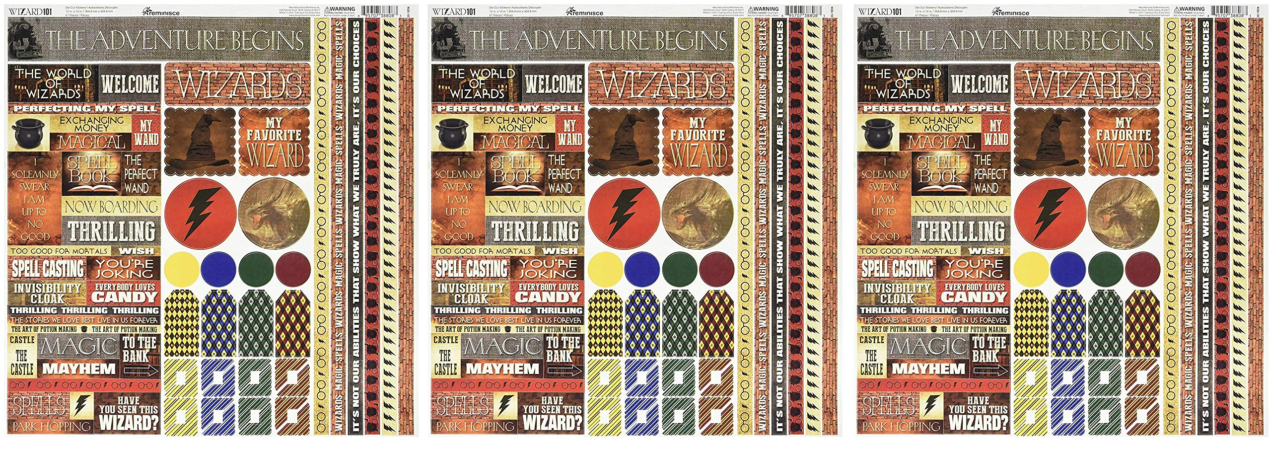 Reminisce WIZA-100 Wizard Cardstock Sticker, 12'' by 12'', Multicolor (Тhrее Pаck)