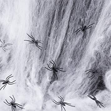 Toile d/'araignée d/'Halloween avec décoration fête extensible de 4 araignées FR