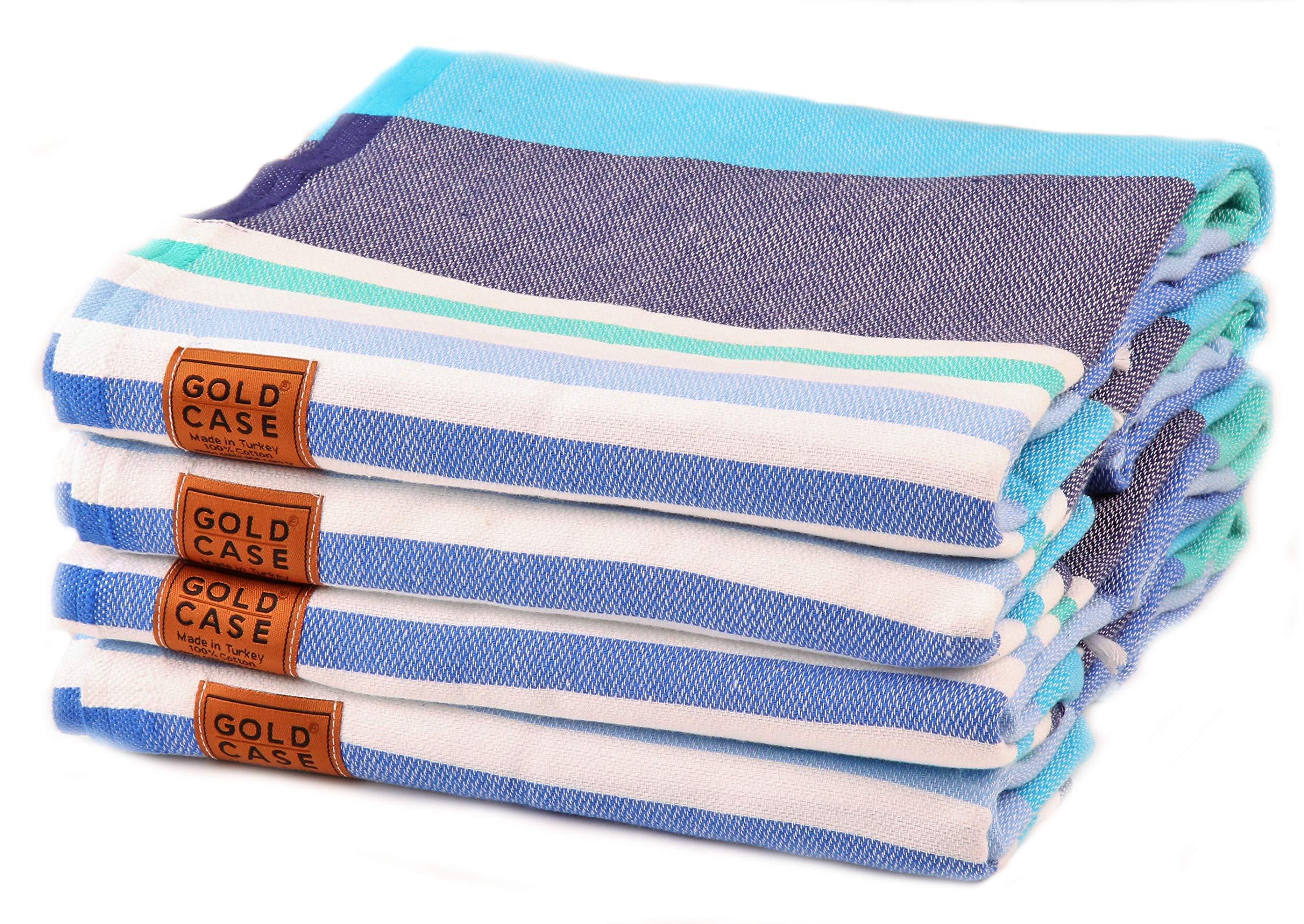 Gold Case Set of 4 XXL and Thick OLYMPOS Turkish Cotton Bath Beach Hammam Towels Peshtemal Towel Throw Blanket (Blue)