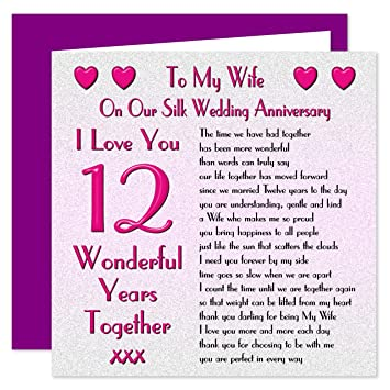 My Wife 12th Wedding Anniversary Card On Our Silk Anniversary 12