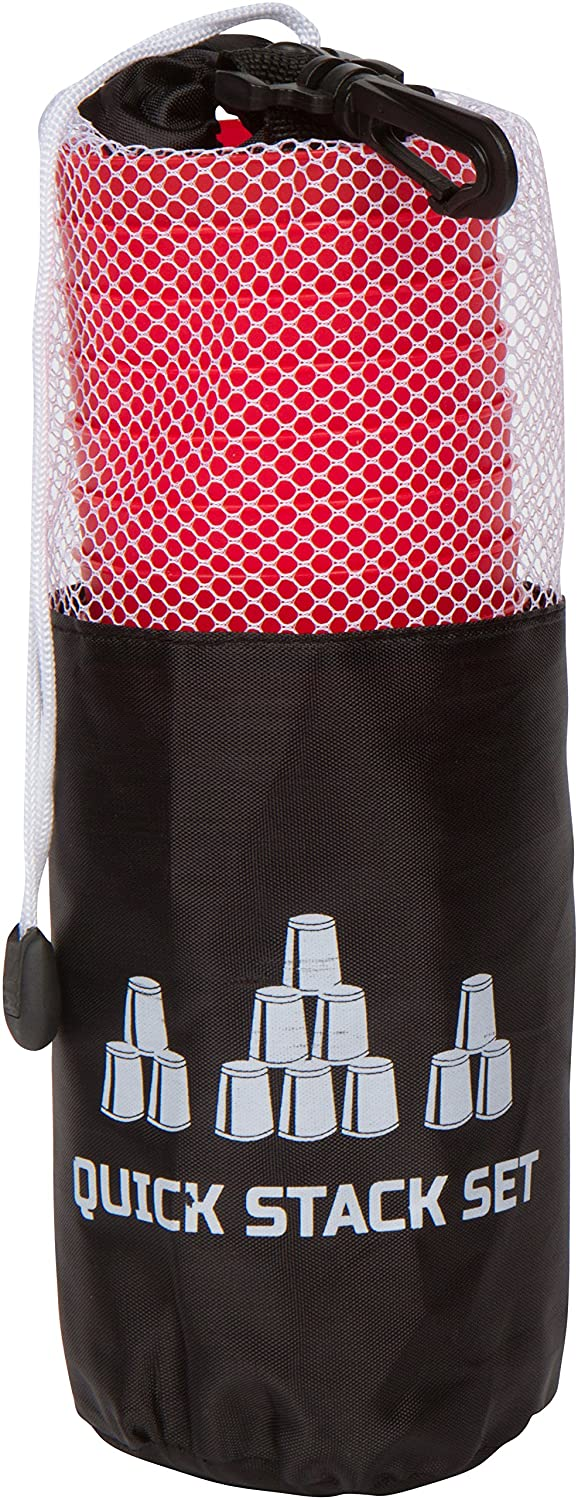 Quick Stack Cups Set of 12 By Trademark Innovations Red Speed Training Sports Stacking Cups With Carry Bag