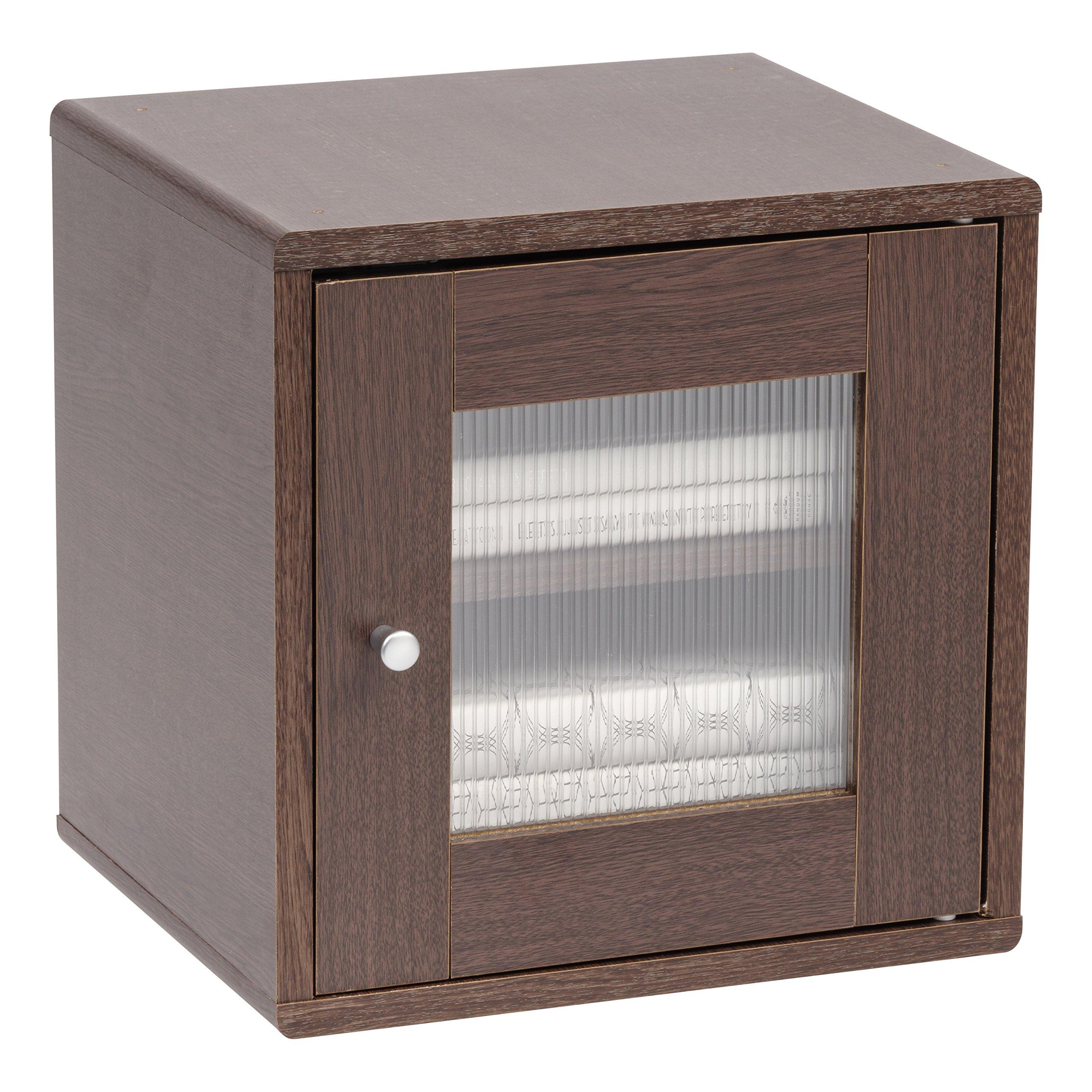 IRIS USA, QR-34PDT, Wood Storage Cube with Window Door, Brown Oak, 1 Pack by IRIS USA, Inc. (Image #5)