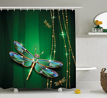 Ambesonne Dragonfly Shower Curtain Vivid Figures In Gemstone Crystal Diamond Shapes Graphic Artsy Effects