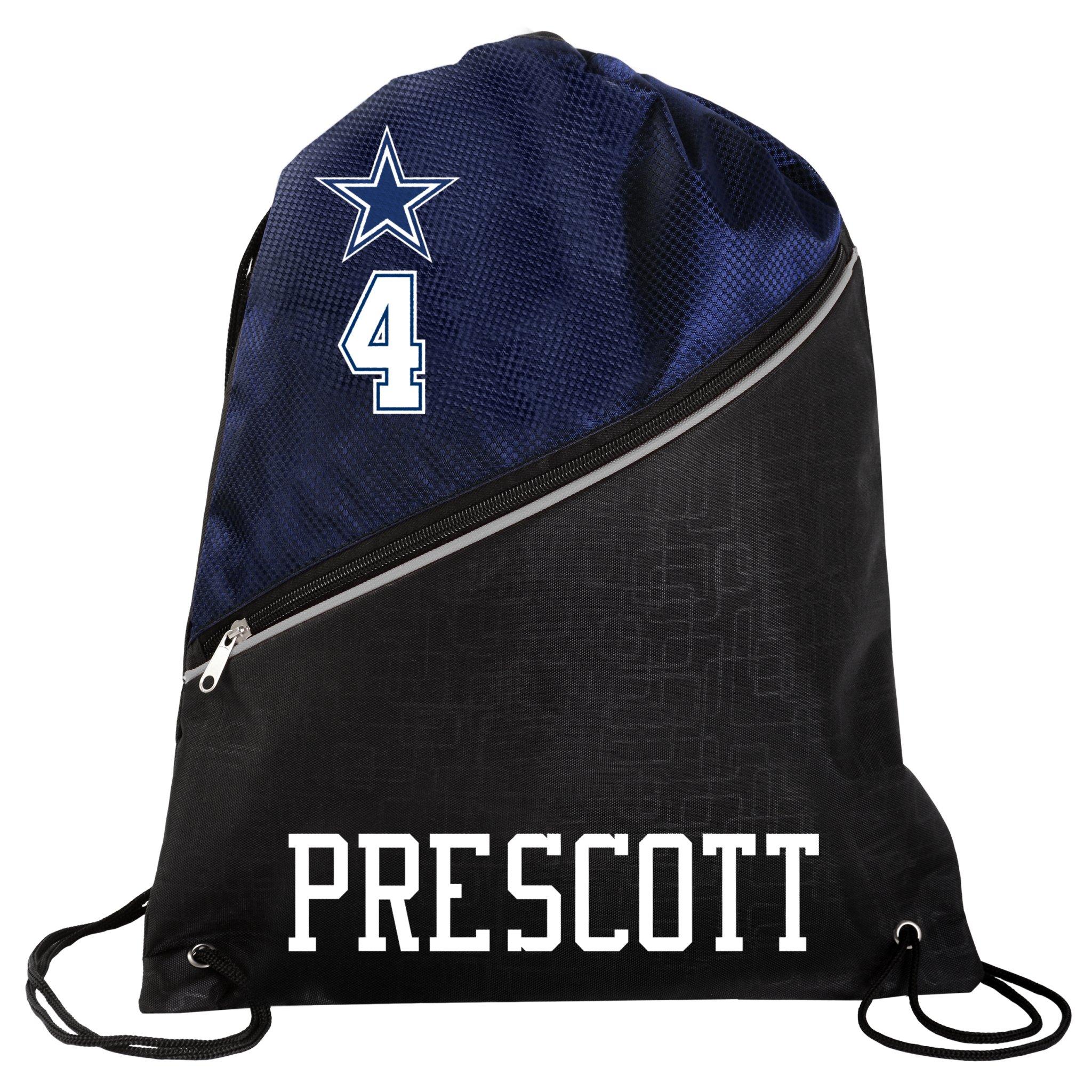 FOCO Dallas Cowboys Official High End Diagonal Zipper Drawstring Backpack Gym Bag - Dak Prescott #4