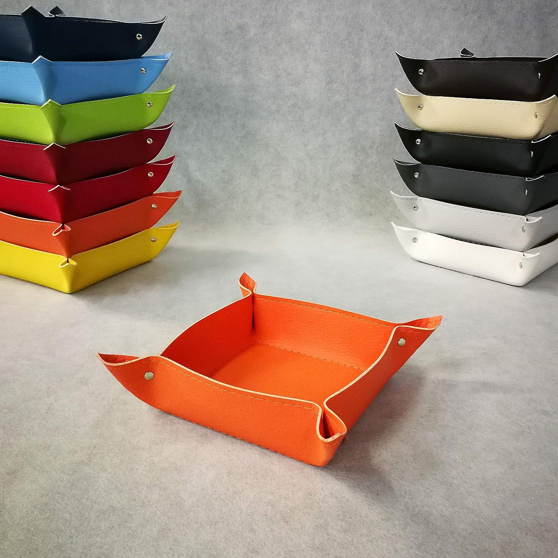 Beige AM DESIGN SVUOTATASCHE in Ecopelle Idea Regalo Made in Italy Porta Oggetti con Cucitura Tono su Tono